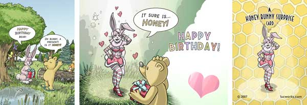 Honey bunny surprise card